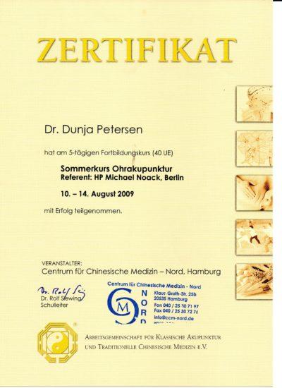 Zertifikat für Ohrakupunktur Dr. Dunja Petersen